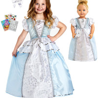Little Adventures Cinderella Princess Dress size 7-9 with Doll Dress, Hairbow & Coloring Book