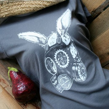 Women's Steampunk Rabbit Gas Mask Screen Printed T shirt Charcoal Grey Made to Order