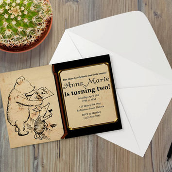 Instant Download - Classic Vintage Pooh Bear Winnie Piglet Thank You Best Friends Event Party Invitation Template