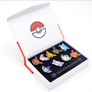Pokemon Pocket Monster Eevee Sylveon Eeveelution Badges Pins 9pcs set New in Box
