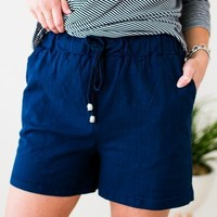 Catching Fireflies Long Linen Shorts in Navy
