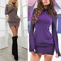 Sexy Women Autumn Winter Long Sleeve Knit Sweater BodyCon Slim Party Mini Dress