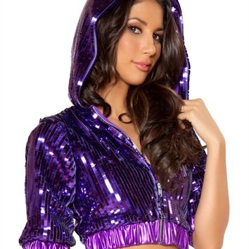 Metallic Purple Sequin Cropped Jacket : Cute Rave Hoodie Tops for Outfits