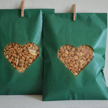 Green Kraft paper bag with a heart window set of 20 kraft bags complete with cellophane bag --- Wedding favor bags or for a sweet table