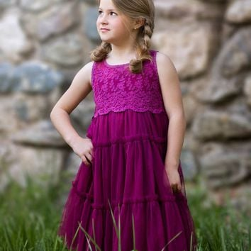 Charlotte Sangria Plum Lace Tulle Tier Dress