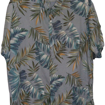 Mens Hawaiian Shirt Tori Richard XL Cotton Lawn Tropical Leafy Bamboo Monstera Leaf Casual Aloha Friday Button Front Short Sleeve