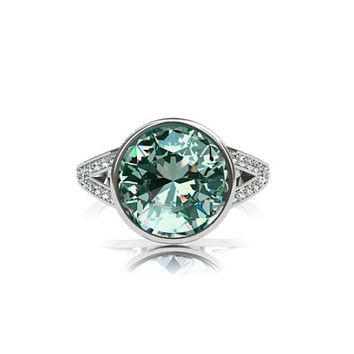 2.52ct Brazilian green tourmaline solitaire engagement ring, diamond ring, split shank ring, bezel engagement ring, unique, light green