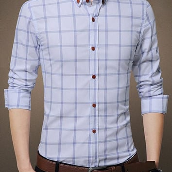 Plus Size Checked Turn-Down Collar Long Sleeve Button-Down Shirt
