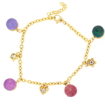 Edforce Stainless Steel Gold Plated Bracelet with Colorful Balls and Charms with Extension