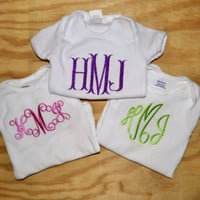 Baby Shower Gift: Set of 3 Monogrammed Onesuits
