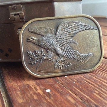 vintage bronze Eagle and shield belt buckle, americana, American, patriotic