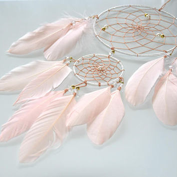 Blush Pink Dream Catcher, Baby Girl Pink Nursery Decor, Wall Hanging Feather Dreamcatcher, Girls Bedroom Decor
