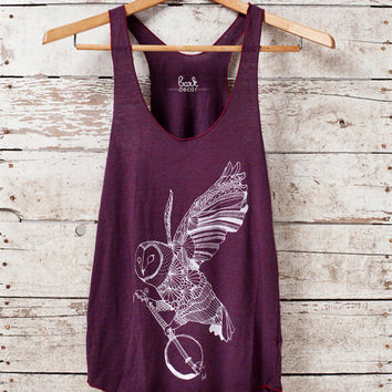 Ghost Banjo - womens owl tri-blend racer back jersey tank top - in Cranberry - by Bark Decor