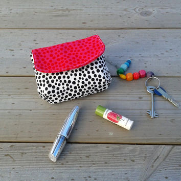 Small make up purse bag with magnetic closure made from Marimekko fabric, credit card holder, pink coin medicine pouch, black and white