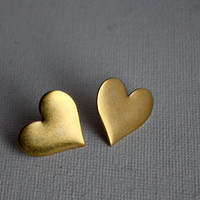 Handmade Large Brass Heart Studs by RachelPfefferDesigns on Etsy