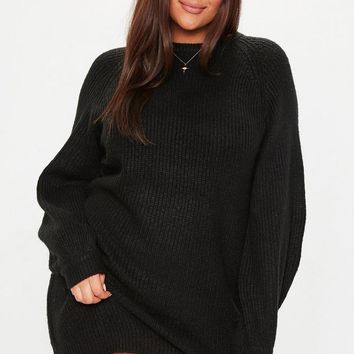 Missguided - Plus Size Black Oversized Sweater Dress