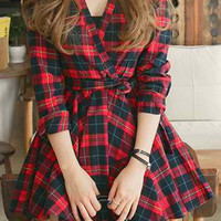 Plaid V-Neck Long Sleeve Pleated Dress