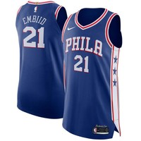 Joel Embiid Philadelphia 76ers # 21 Nike Royal Authentic Icon Edition Jersey - Best Deal Online