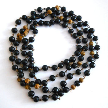 "Black Bead MIRIAM HASKELL Necklace, Opera Length 48"" Long, Vintage Signed"