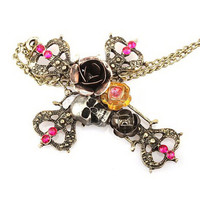 Necklace Vintage Gothic Style Skull Cross Pendant