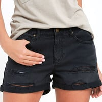 Billabong Frankie Washed Black Distressed Denim Shorts