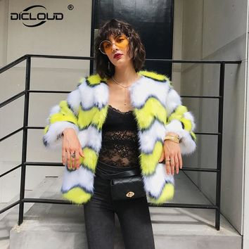 2017 Autumn Winter Outfits Women Faux Fur Jackets Coats Cozy Fluffy Mink Fur Jackets Zig Zag Pattern Fur Coats Women Outerwear