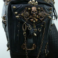 Fashion Gothic Steampunk Skull Retro Rock bag Men Women Waist Bag Shoulder Bag Phone Case Holder women messenger Bag 2016