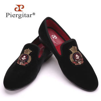 New style men Velvet shoes with Hand stitch Bullion embroidery Party and Banquet Male