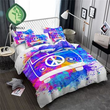 HELENGILI 3D Bedding Set Color ink Hippie Print Duvet cover set bedclothes with pillowcase bed set home Textiles #YN-13