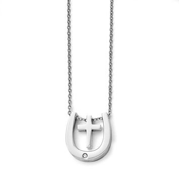 Stainless Steel Polished Cross/Horseshoe w/Crystal Accent Necklace