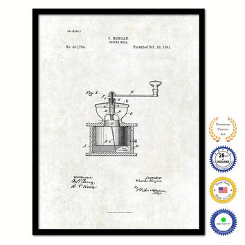 1891 Coffee Mill Grinder Vintage Patent Artwork Black Framed Canvas Print Home Office Decor Great for Coffee Spice Lover Cafe Shop