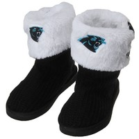 Carolina Panthers Women's Knit High-End Button Boot Slippers