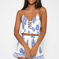 Sophies Choice Crop - White Print