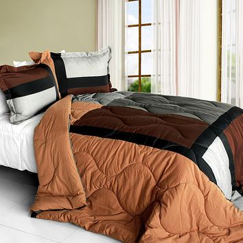 [Soil of Love] Quilted Patchwork Down Alternative Comforter Set (Full/Queen Size)