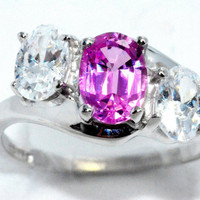 2 Carat Genuine Pink Sapphire With Zirconia Ring .925 Sterling Silver Rhodium Finish White Gold Quality