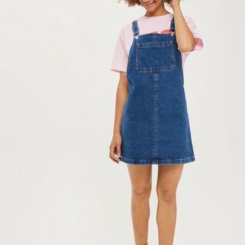 MOTO Bib Denim Pinafore Dress | Topshop