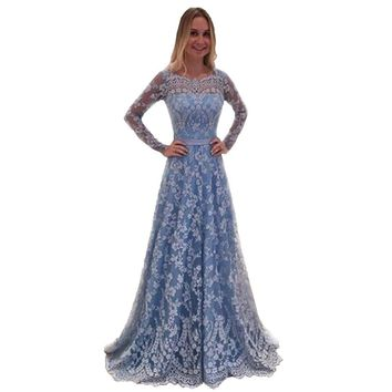 2019 Elegant Dress for Wedding Women Fashion Sheer Lace Long Sleeve V-neck Sexy Backless Dresses Lace Prom Maxi Party Dresses
