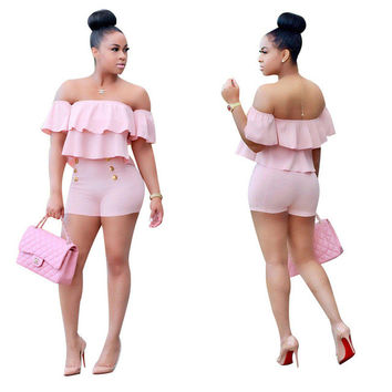Strapless Off the Shoulder Button Romper