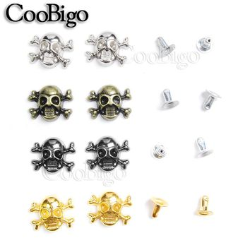 1000pcs 12x14.5mm Skull Cross Bone Rivet Studs Spikes Punk DIY Leather Craft for Apparel Clothing Shoe Bag Parts Accessories