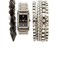 RHINESTONE RIM WATCH & BRACELETS, 8-PIECE SET