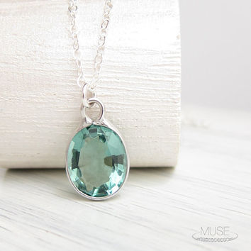Blue Topaz Necklace - Sterling Silver Necklace, Bezel Set Gemstone Necklace, Dainty Necklace, Bridal Necklace, Something Blue