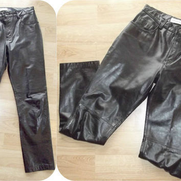 Vintage 80s 90s Black Leather Pants Biker Chic SEXY 8 GAP Motorcycle Goth Jeans
