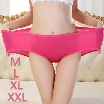 Hot Sale Elasticity M-XXL Size Bamboo Fiber Panties Plus Size Low-Rise Women's Briefs Soft Closest Toughness Seamless Underwear