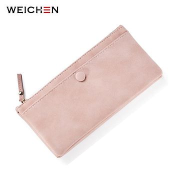 WEICHEN Vintage Style Hasp Long Day Clutch Wallets For Women Soft Faux Suede Leather Female Purse Ladies Card Coin Pocket Purses