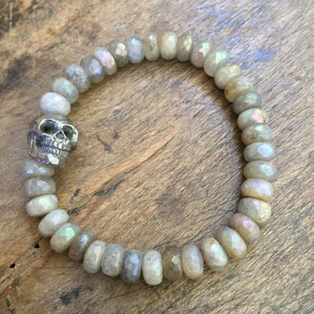 Skull Stacking Bracelet, Labradorite Gemstone Bracelet, Bohemian Beaded Jewelry by Two Silver Sisters