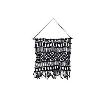 "SOUL OF THE PARTY 23"" x 25"" MACRAME WALL HANGING BLACK"