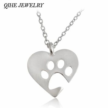 QIHE JEWELRY Gold Silver 2 Color Love&Paw Pendant Necklace Animal Pet Memorial Puppy Dog Bear Cat Lover Christmas  Gift
