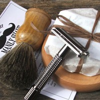 $60.00 Shave Set with Razor and Badger Brush by DirtyDeedsSoaps on Etsy