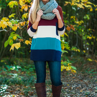 Striped Colorblock Top, Jade/Rust