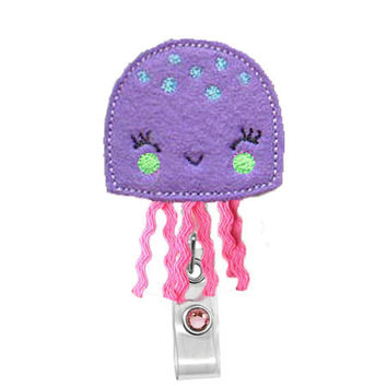 Cute Jelly Fish (Purple )-Name Badge Holder-Nurses Badge Holder-Cute Badge Reels - Unique  ID Badge Holder - RN Badge Reel